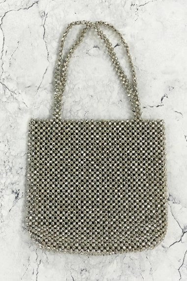 Silver Beaded Shoulder Bag