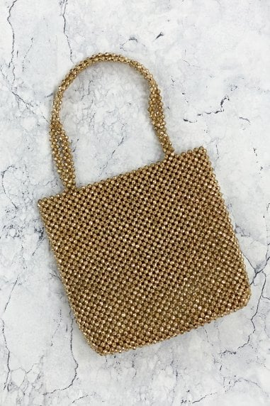 Gold Beaded Shoulder Bag