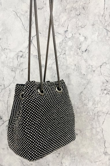 Grey Sparkle Small Drawstring Bag