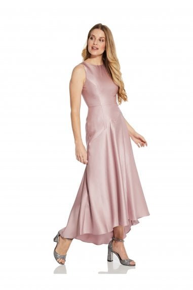 Mikado Drop Waist Gown In Aurora Pink