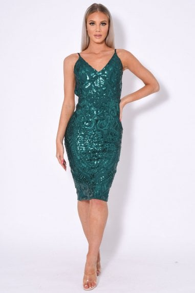 HIGH SHINE LUXE EMBELLISHED SEQUIN BACKLESS MIDI DRESS