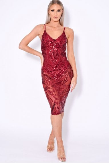 BODY ON ME LUXE SHEER EMBELLISHED SEQUIN BODYSUIT DRESS
