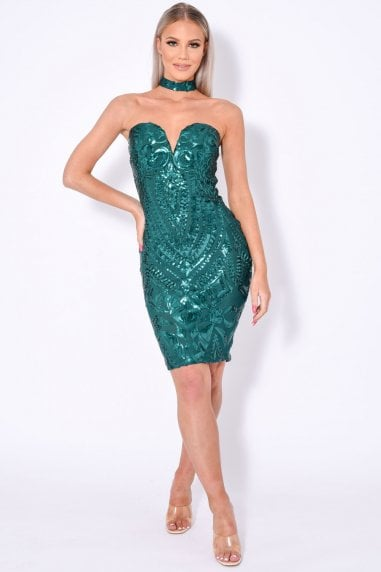 APHRODITE LUXE SWEETHEART PLUNGE SEQUIN EMBELLISHED DRESS
