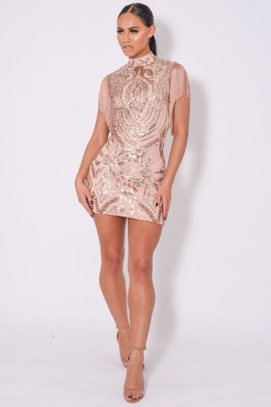 KYLIE LUXE TASSEL SEQUIN EMBELLISHED DRESS