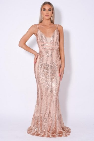 VIRGO PLUNGE CAGE BANDAGE ILLUSION SEQUIN MAXI FISHTAIL DRESS