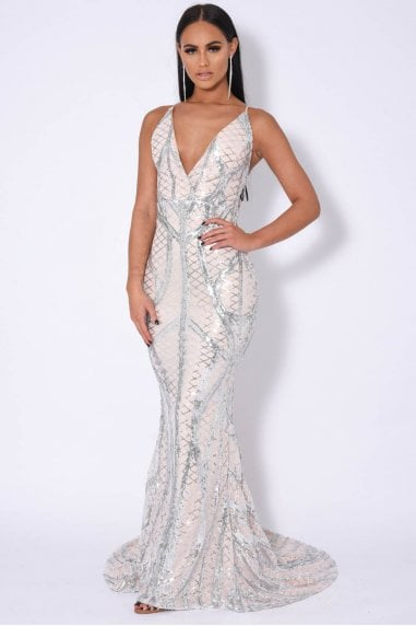 LAST DANCE PLUNGE CAGE BANDAGE ILLUSION SEQUIN MAXI FISHTAIL DRESS