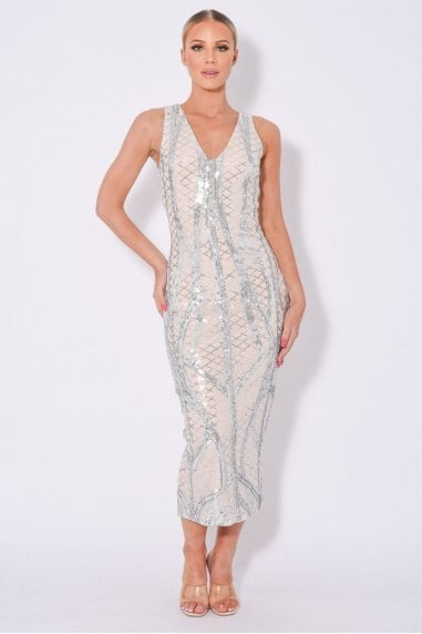 ICONIC LUXE EMBELLISHED SEQUIN PENCIL MIDI DRESS
