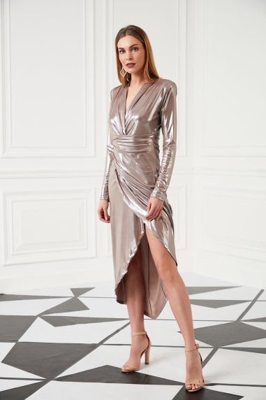 JENERIQUE V Neck Shiny Midi Wrap Dress