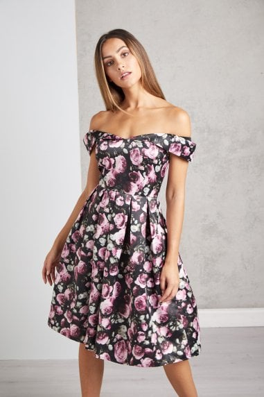 Black Bouquet Floral Party Dress