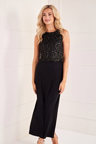 Lace Top Overlay Midi Dress