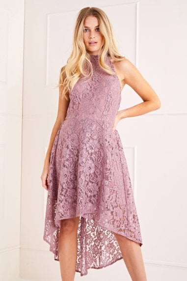 Lace Halter High Low Dress