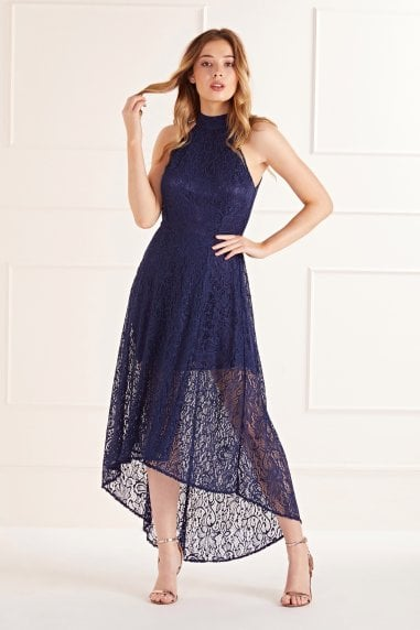 High Neck High Low Lace Maxi Dress
