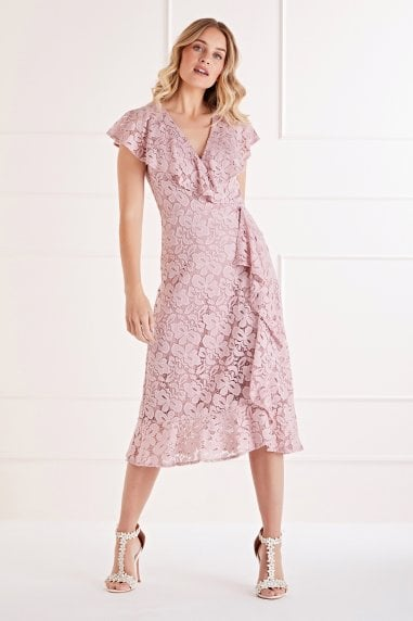 Ruffle Wrap Lace Midi Dress