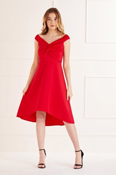 Knot Front High Low Dress