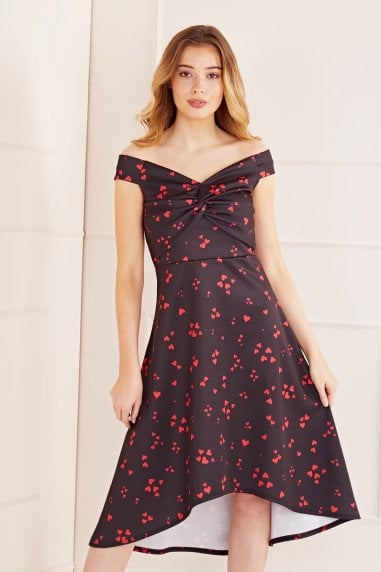 Hearts Printed Knot Front High Low Dress