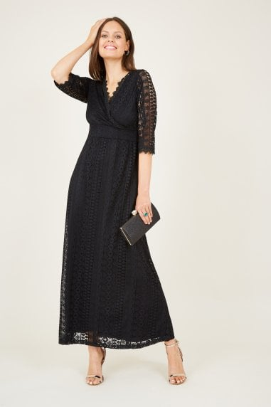 Wrap Front Lace Maxi Dress
