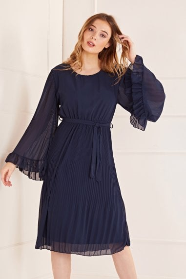 Fluted Sleeve Pleated Midi Dress