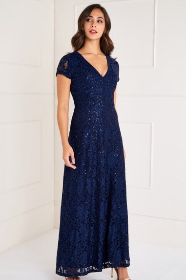Sequin Detailed V Neck Lace Maxi Dress
