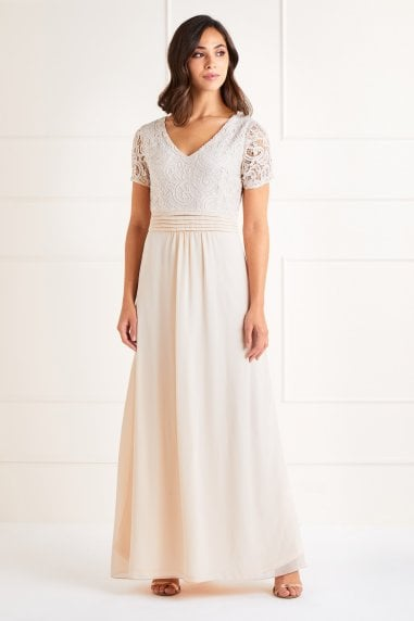 Lace Top V Neck Maxi Dress