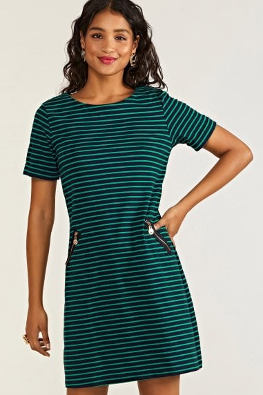 Nautical Stripe Tunic With Zip Pockets
