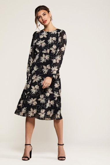 Pointy Flower Print Midi Dress