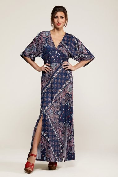 Ditsy Navy Scarf Print Maxi Dress With K