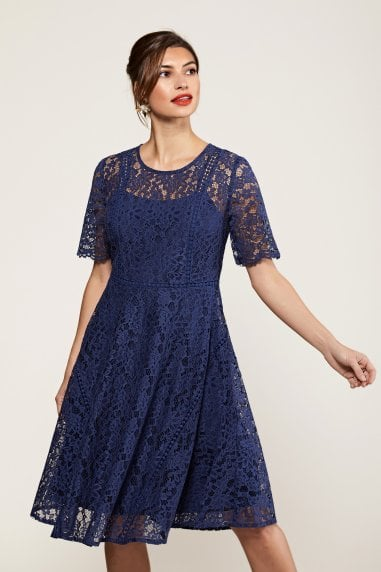 Fit And Flare Navy Lace Dress With Lace