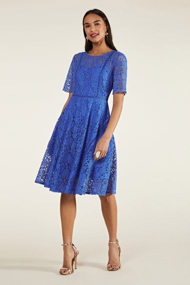 Lace Fit And Flare Dress With Trim Detai