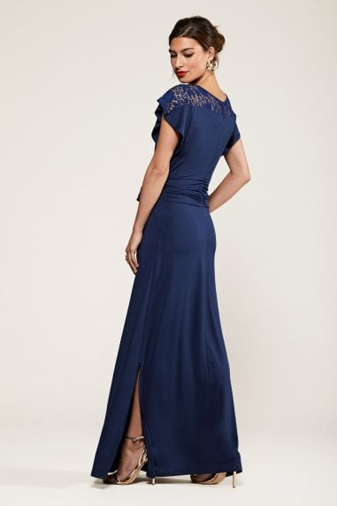 Ruched Navy Maxi Dress With Lace Detail