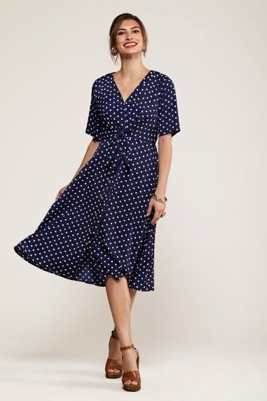 Black Spot Tie Knot Button Detail Dress