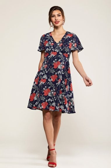 Navy Poppy Print Tea Dress
