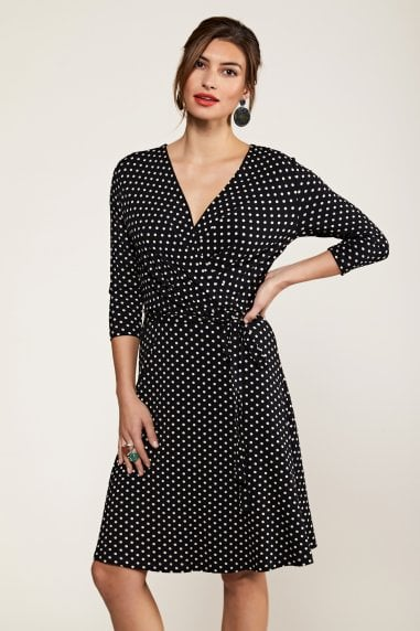 Jersey Black Spot Wrap Dress