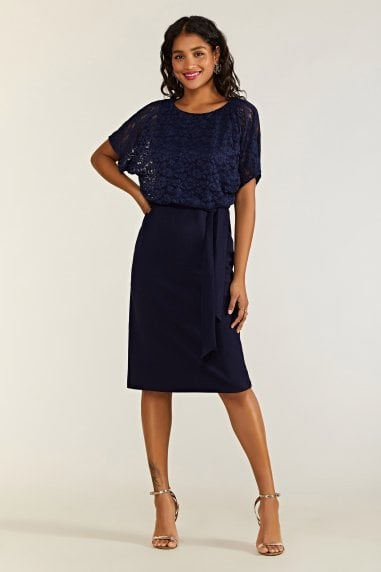 Navy Lace And Ponte Dress With Kimono S