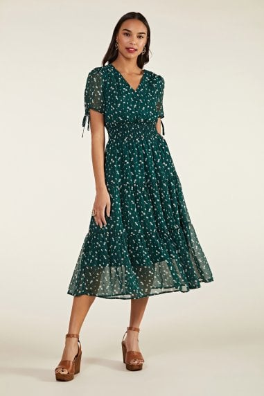 Ditsy Daisy Ruched Midi Dress