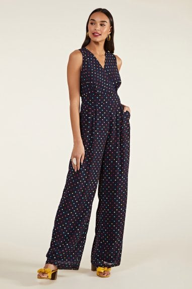 Multi Spot Print Cross-Over Jumpsuit