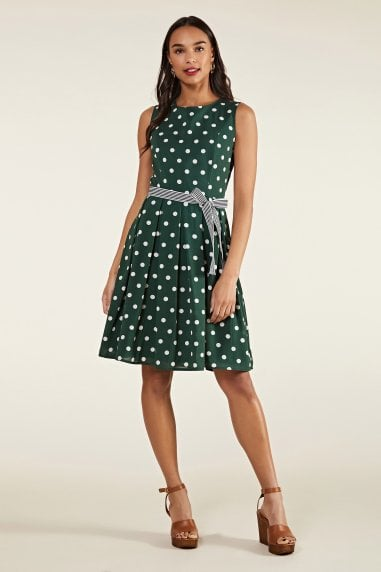 Spot Print Dress With Contrast Belt