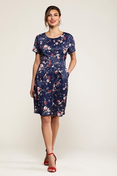 Navy Daisy Print Pocket Dress With Tie B