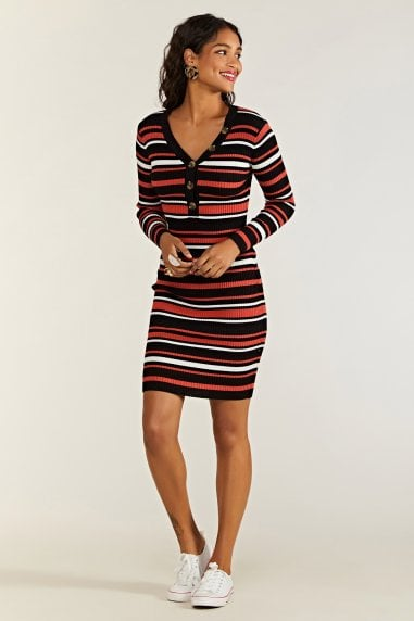 Knitted Stripe Body Con Dress With Butto
