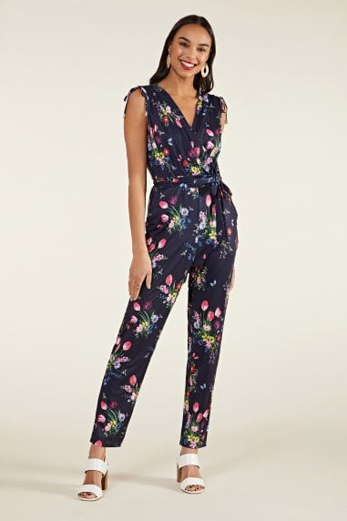 Tulip Print Cross-Over Jumpsuit