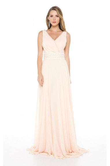 Ladyness Pale Peach Maxi Chiffon Dress