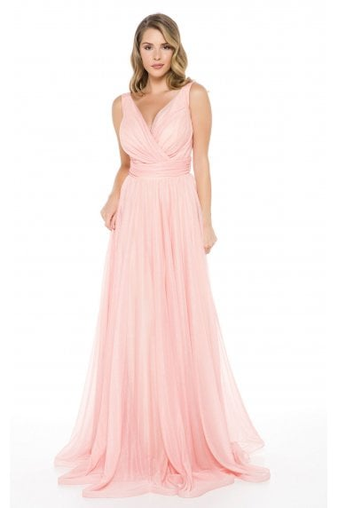Ladyness Pink Maxi Bridesmaid Dress