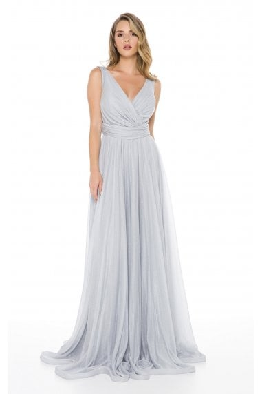 Ladyness Grey Maxi Bridesmaid Dress