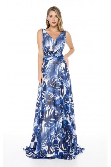 Ladyness Allover Printed Chiffon Maxi Dress