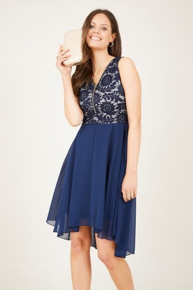 Lace Top High Low Dress