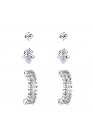 Jon Richard Mini Stud And Small Hoop Earring Set - Pack Of 3