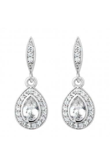 Jon Richard Rhodium Cubic Zirconia Peardrop Drop Earring