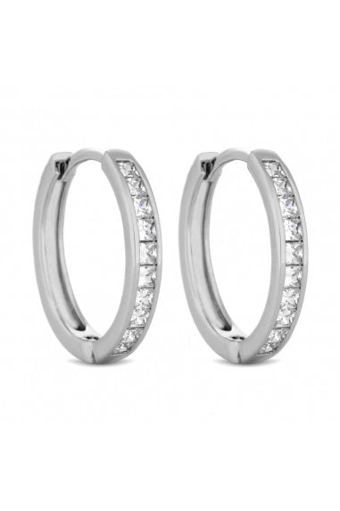 Jon Richard Rhodium Plated Clear Cubic Zirconia Medium Hoop Earring