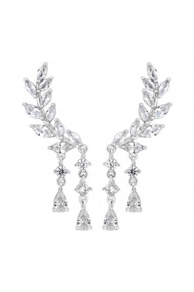Jon Richard Rhodium Plated Clear Ear Climber Drop Earring