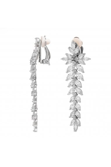 Jon Richard Rhodium Plated Crystal Statement Clip On Earring