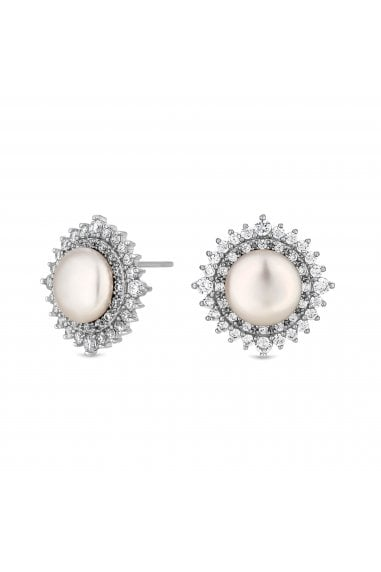 Jon Richard Rhodium Crystal Pave Surround Bouton Pearl Stud Earings